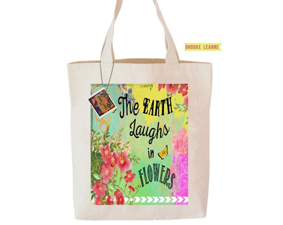 Flower Garden Tote Bag  - Reusable Grocery Shopping Bag - Farmer's Market Bag - Cotton Eco Tote Bag - Book Bag - Free Shipping