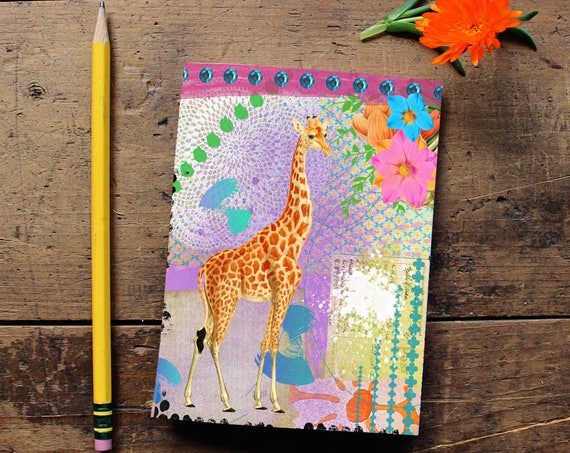 Giraffe Journal  - Handmade Notebook - Blank Journal - Inspiring Art Notebook - Writing journal - Sketchbook