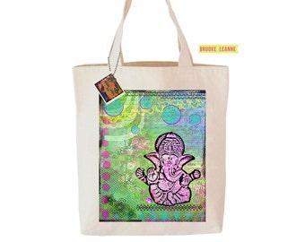 Ganesha Tote Bag  - Reusable Grocery Shopping Bag - Farmer's Market Bag - Cotton Eco Tote Bag - Book Bag - Free Shipping