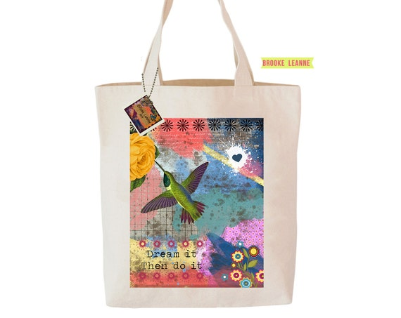 Hummingbird Tote Bag  - Reusable Grocery Shopping Bag - Farmer's Market Bag - Cotton Eco Tote Bag - Book Bag - Free Shipping