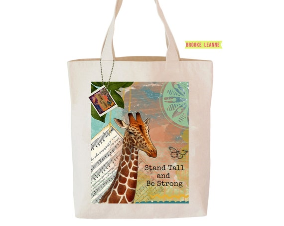 Giraffe Tote Bag, Reusable Shopper Bag, Farmers Market Bag, Cotton Tote, Shopping Bag, Eco Tote Bag, Reusable Grocery Bag, Printed in USA