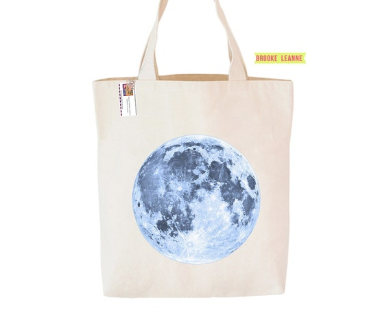 Full Moon Tote Bag - Moon Bag - Astrology Bag - Canvas Book Bag - Moon Child Shopping Bag