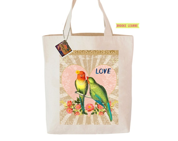 Love Birds Tote Bag  - Reusable Grocery Shopping Bag - Farmer's Market Bag - Cotton Eco Tote Bag - Book Bag - Free Shipping