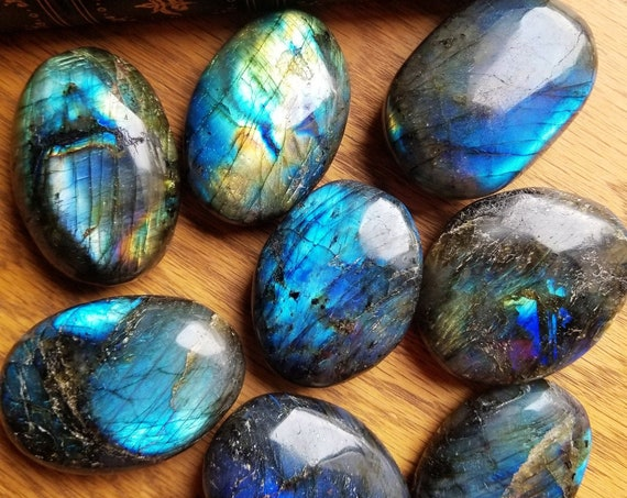 Labradorite Palmstone, Blue Fire Labradorite, Polished Labradorite, Crystals, Protection, Worry Stone, Palm Stone - 100-110 grams