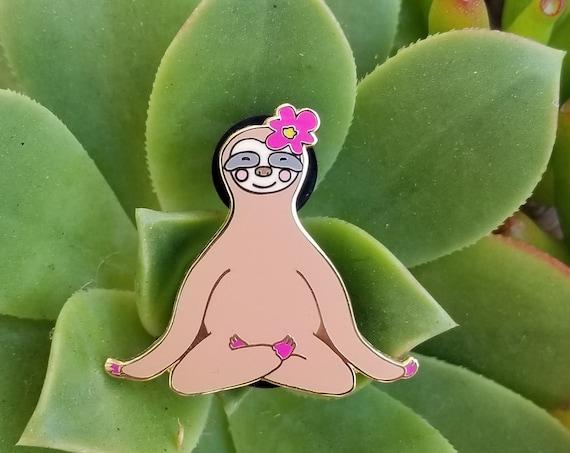 Sloth Pin Meditating Hard Enamel Pin. Enamel Pin Sloth.  Yoga gift. Zen Pin.  Cute Sloth Pin. Meditation. Buddha Pin