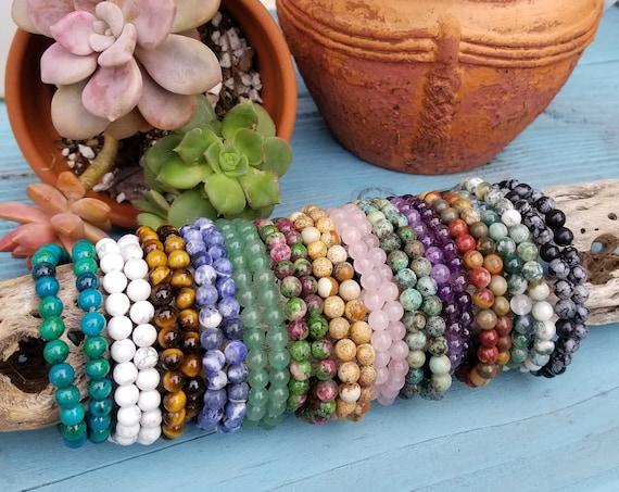 Crystal Stacking Bracelets 6mm. Genuine Crystal Bracelets. Crystal Healing Bracelets. Gemstone Bracelets. Amethyst. Rose Quartz. Aventurine