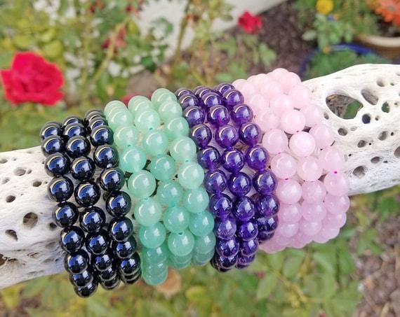 Crystal Stacking Bracelets 8mm | Genuine Crystal Bracelets | Crystal Healing Bracelets | Gemstone Bracelets | Crystal Jewelry