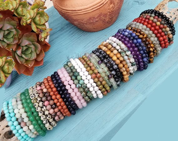 Crystal Stacking Bracelets 6mm | Genuine Crystal Bracelets | Crystal Healing Bracelets | Gemstone Bracelets | Crystal Jewelry
