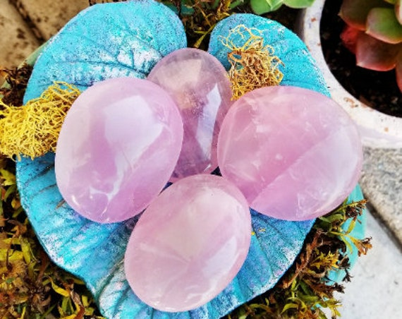 Rose Quartz, Rose Quartz Palm Stone, Polished Rose Quartz, Natural Stone, 2.6-3.8 ounces, Palmstone, Pink Rose Quartz, Crystals