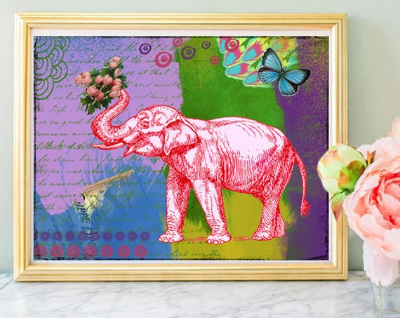 Pink Elephant Art Print - Colorful Collage Painting - Wall Art - Poster - Kids Art - Little Girls Room