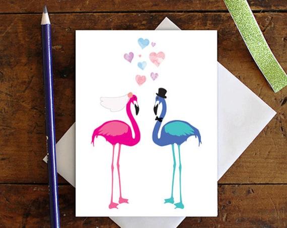 Flamingo Greeting Card - Bride and Groom - Wedding Bird Greeting Card - Bridal Shower Card - Stationery - Blank Card - Glittered
