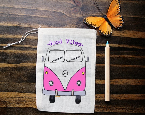 Bus Muslin Bags - Art Bag - Pouch - Gift Bag - 5x7 bag - Crystal Pouch - Party Favor - Packaging - Good Vibes
