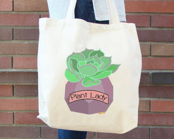 Plant Lady Tote Bag - Library Bag - Farmers Market Bag - Plant Lover - Succulent Tote Bag - Gardener - Printed in USA