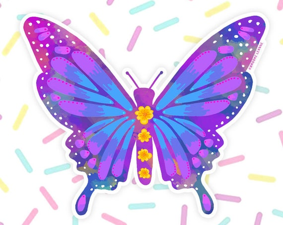 Butterfly Sticker Decal, Vinyl Stickers for Laptops, Car Decals, Notebook Sticker, Water bottle Sticker, Butterfly Sticker, Insect Sticker