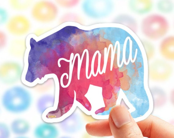 Mama Bear Sticker | Vinyl Stickers for Laptop  | Car Decals Mama Sticker  | Baby shower Gift | New Mom | Mother's Day | Mom Life