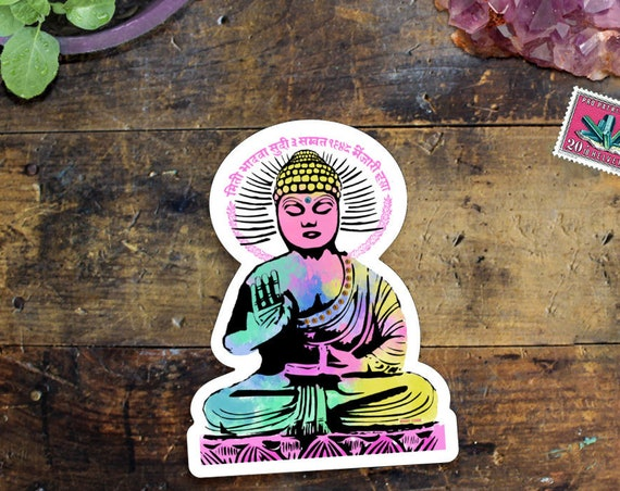 Buddha Sticker - Vinyl Car Buddha Sticker - Colorful Yoga Sticker - Waterproof Buddha Decal Sticker - Zen Sticker - Laptop Sticker