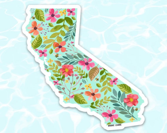 California Sticker Decal, Vinyl Stickers for Laptops, Car Decals, Beach Sticker, Phone Sticker, Flower California, San Diego, LA Sticker