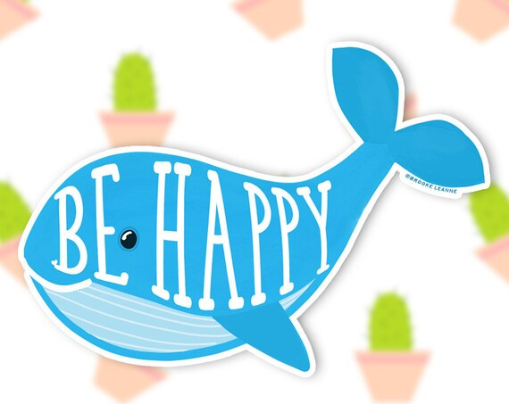 Whale Sticker Decal, Vinyl Stickers for Laptops, Car Decals, Notebook Sticker, Phone Sticker, Happy Whale, Beach Sticker, Be Happy