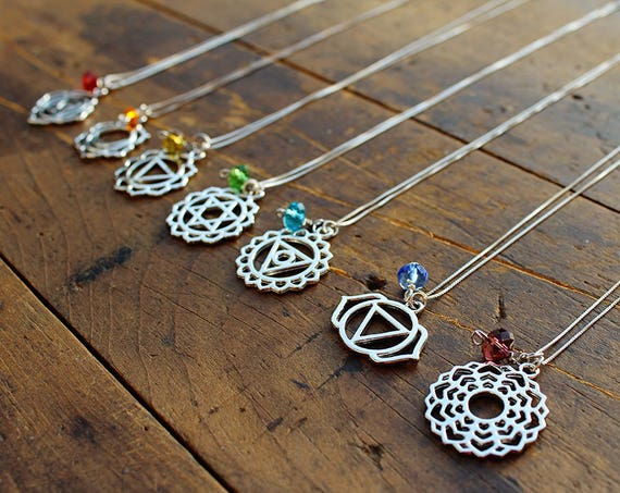Chakra Sterling Silver Plated Necklace - Chakra Pendant Jewelry - Spiritual Jewellery - Yoga Jewellery - Chakra Symbol - Made in USA
