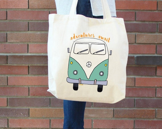 Van Bus Tote Bag  - Reusable Cotton Grocery Shopping Bag - Book Bag - Beach and Yoga Bag - Hiking - Hippie - Camping - Free Shipping