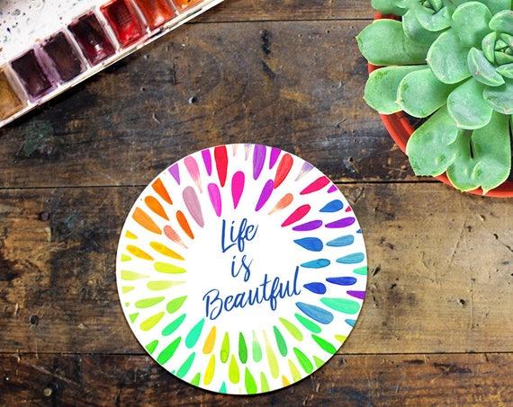 Life is Beautiful Sticker Decal - Laptop Sticker - Window Decal - Notebook Sticker - Phone Sticker - Snowboard Sticker - Positive Living