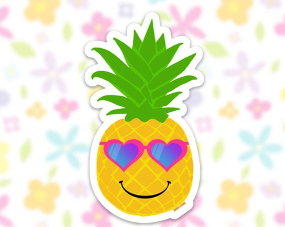 Pineapple Sticker Decal, Vinyl Stickers for Laptops, Car Decals, Notebook Sticker, Phone Sticker, Happy Pineapple, Summer sticker, Beach