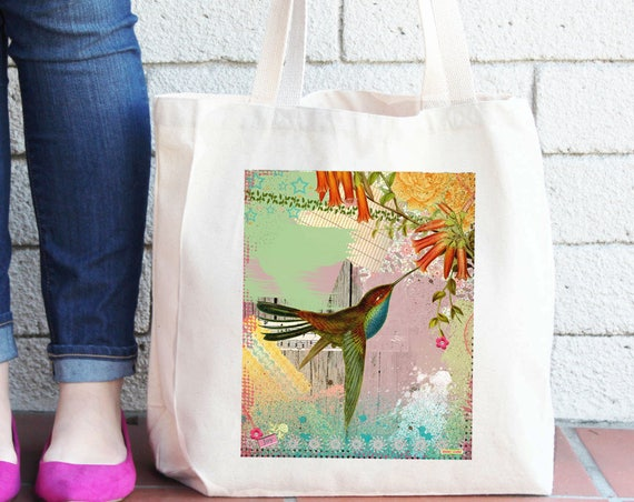 Hummingbird Tote Bag - Reusable Shopper Bag - Farmers Market Bag - Cotton Tote Bag - Shopping Bag - Reusable Grocery Bag, Printed in USA