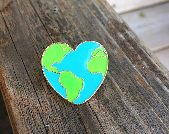 Earth Heart Pin - Enamel Pin - Fashion Pin - Soft Enamel Pin - Environment - Mother Earth Enamel Pin - Stocking Stuffer - Limited Quantity