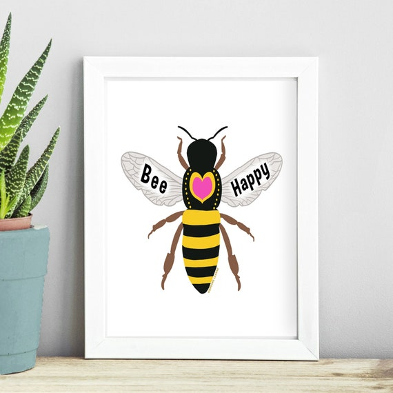 Bee Art Print - Collage Colorful Painting - Bee Art - Be Happy - Honey Bee art