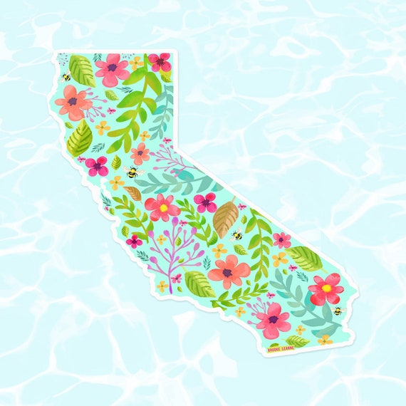California Sticker, Vinyl Stickers for Laptop, Car Sticker, Beach Sticker, Flora California Sticker, Flower California, CA Sticker