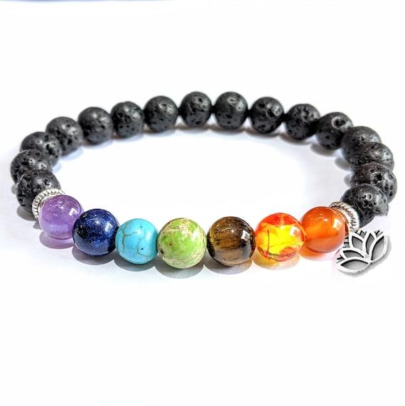 Chakra Balancing Lava 8mm Bead Diffuser Bracelet, Essential Oil Aromatherapy, Lava and Crystal Bracelet, Yoga, Reiki, Chakras