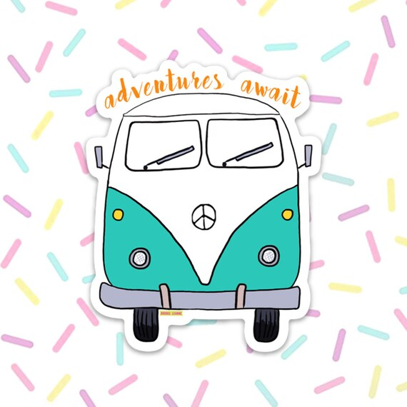 Bus Van Sticker Decal, Vinyl Stickers for Laptops, Car Decals, Notebook Sticker, Phone Sticker, Hippie Bus, Van Life, Adventures