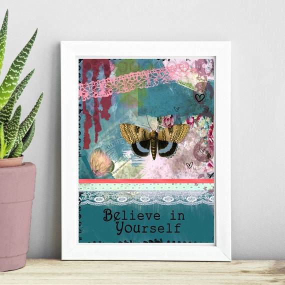 Butterfly Art Print - Inspirational Quote Painting - Butterfly Poster - Quote Wall Art - Word Art - Girl Room