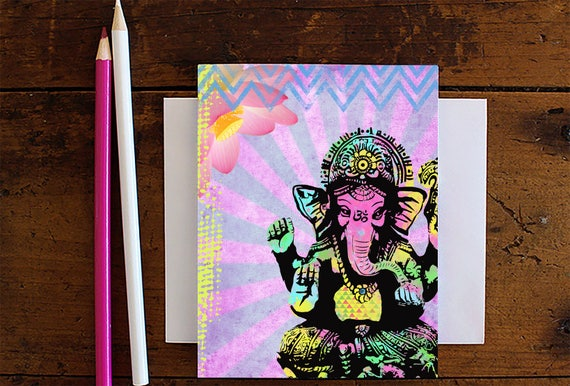 Ganesha Greeting Card - Note Card - Birthday Card - Blank Card - Stationery - Ganesha Elephant - Yoga Lover Gift - Wholesale Stationery