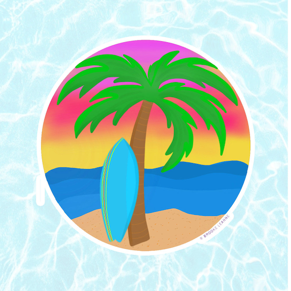 Beach Sticker Decal, Vinyl Stickers for Laptops, Car Decals, Notebook Sticker, Phone Sticker, Beach Sticker, Surf Sticker, Sunset Sticker