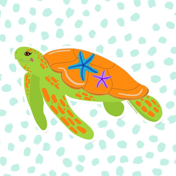Sea Turtle Sticker, Decal, Vinyl Sticker for Laptop, Car Decal, Turtle Sticker, Water Bottle Sticker, Ocean Sticker, Save the Sea Turtles