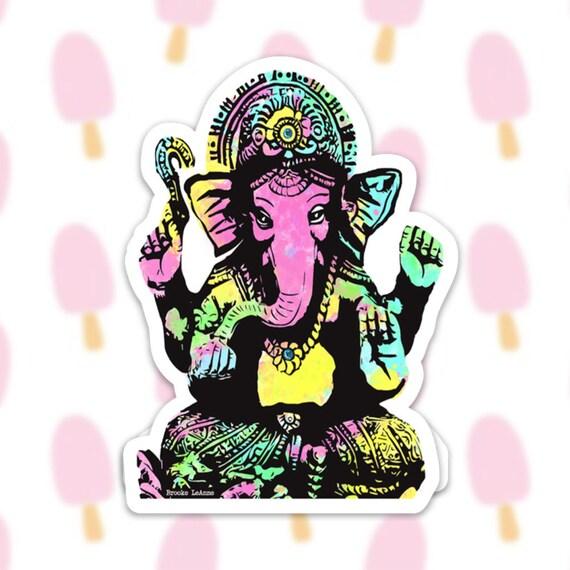 Ganesha Sticker Decal, Vinyl Stickers for Laptops, Car Decals, Notebook Sticker, Phone Sticker, Yoga Sticker, Elephant Sticker, Hindu God