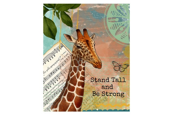 Giraffe Art Print - Inspirational Quote Art - Mixed Media Collage - Colorful Art - Painting