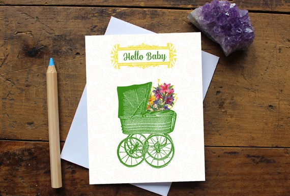 Baby Greeting Card Handmade - Baby Shower Card - New Baby Card - Baby Boy or Girl - Stationery - New Baby Wish - New Parents