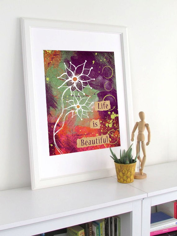 Flower Painting Art Print - Inspirational Quote Collage - Word Wall Art - Colorful Art