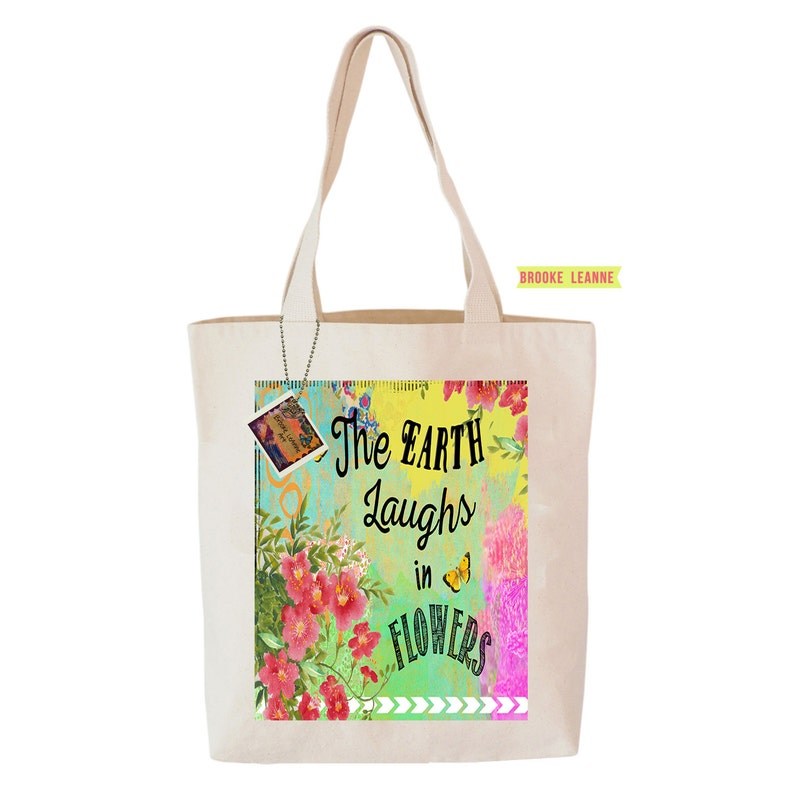 d73903181ee Flower Garden Tote Bag Reusable Grocery Shopping Bag