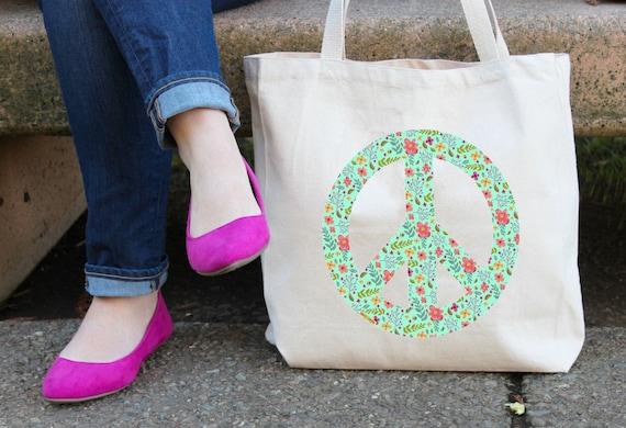 Peace Sign Tote Bag - Peace and Flowers Bag - Peace and Love - Peace Yoga Bag - Canvas Book Bag - Peace Sign Shopping Bag