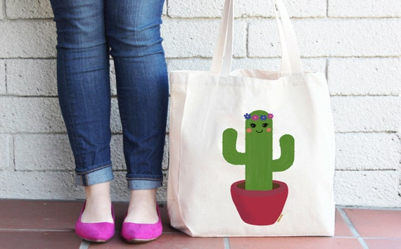 Cactus - Reusable Grocery Shopping Bag - Farmer's Market Bag - Cotton Tote Bag - Gardener Bag - Cactus Beach Bag - Succulent - Free Shipping