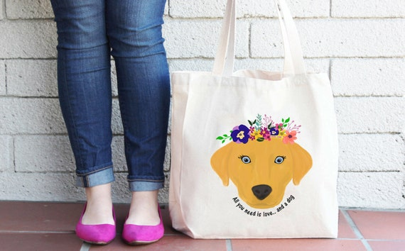 Dog Tote Bag, Reusable Dog Lover Shopper Bag, Farmers Market Bag, Cotton Tote, Shopping Bag, Eco Bag, Reusable Grocery Bag, Printed in USA