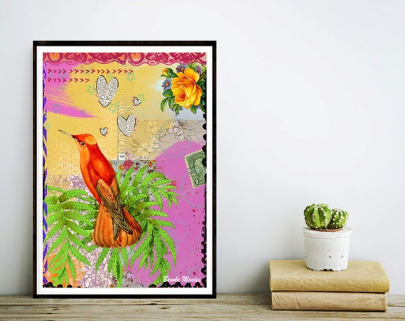Orange Bird Art Print - Collage Colorful Painting - Mixed Media - Hummingbird - Poster