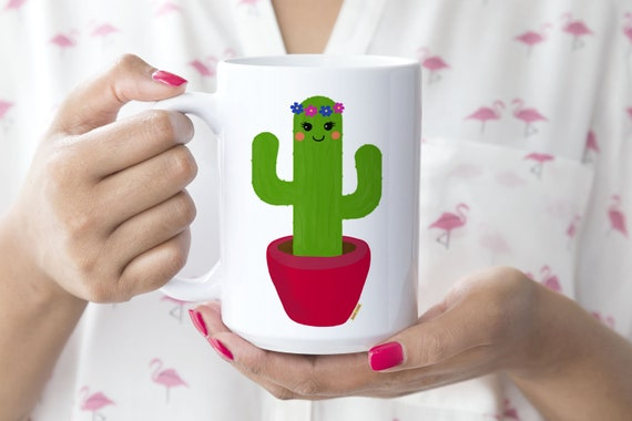 Cactus Mug -  15oz or 11oz Coffee and Tea Mug - Desert Mug - Ceramic Mug - Plant Lover Mug - Drinkware - Coffee Cup - Printed in USA