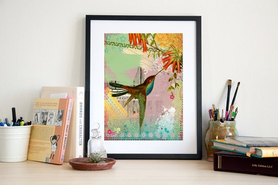 Hummingbird Art Print - Bird Poster - Wall Art - Home Decor - Painting - Bird Art