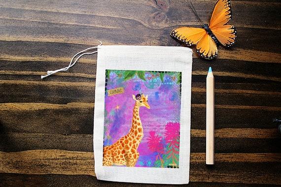 Giraffe Muslin Bags - Art Bag - Pouch - Gift Bag - 5x7 bag - Crystal Pouch - Party Favor - Packaging