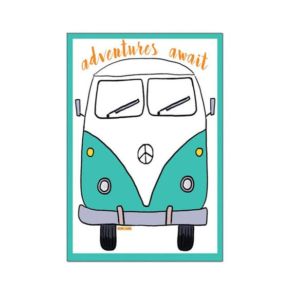 VW Bus Magnet Art - Uplifting Refrigerator Magnet - Office Decor - Gift - Bus Magnet - Adventures - VW Bus