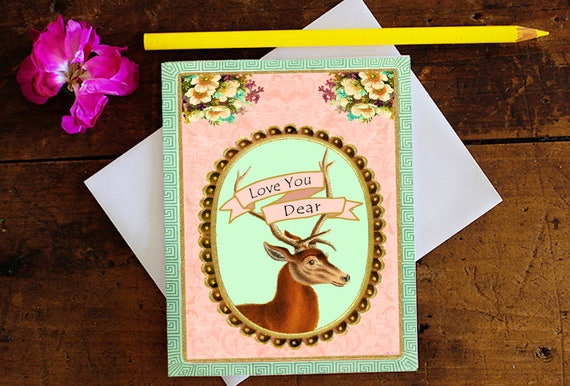 Deer Greeting Card  - Love Card - Birthday Card - Valentine's Day - Anniversary - Stationery - Blank Card - Glittered - Birthday Card
